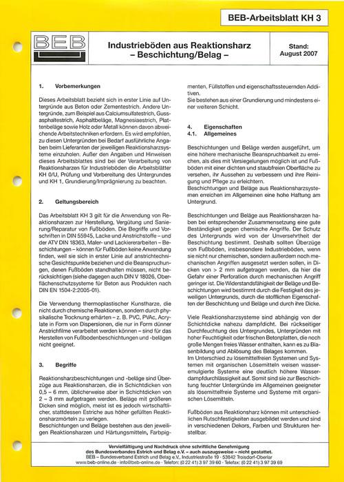 KH-3 Beschichtung/Belag (2007) - Bundesverband Estrich und Belag